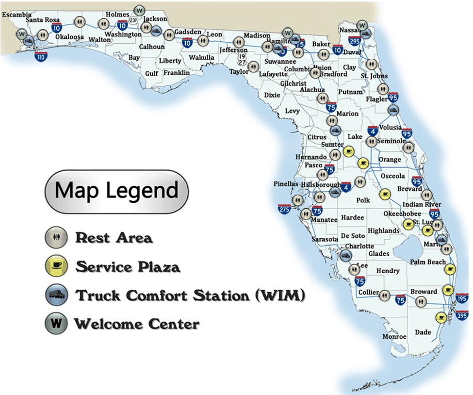 florida rest area map